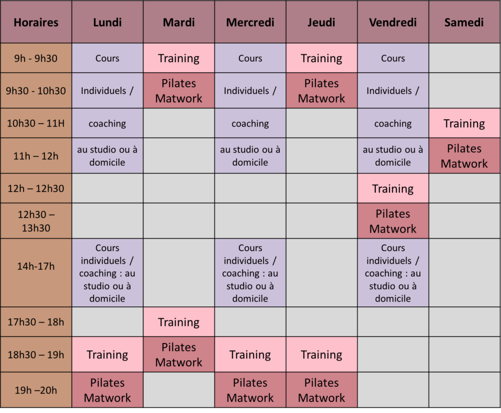 eEmploi du temps Studio Pilates Craponne ouest lyonnais